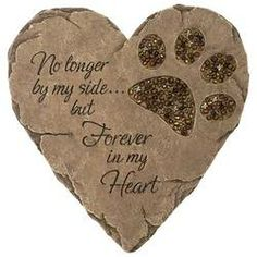 HEART PET STONE $29.99 stepping stone for in front of the bench