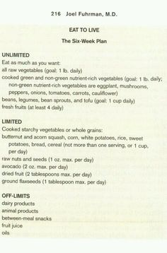 Eat to Live - The Six-Week Plan