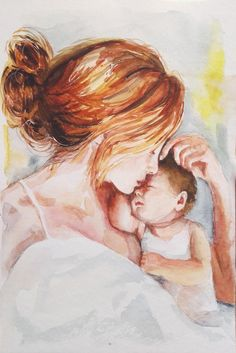 Mother and Child original watercolor painting, motherhood painting, sympathy gift mother, breastfeeding art mothers day gift Mother Blessing Mother And Child Drawing, Mother Art, Family Illustration, Watercolor Illustration, Breastfeeding Art, Watercolor Paintings For Beginners, Baby Painting, Baby Drawing, Cute Animal Drawings