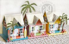 Annette's Creative Journey: My Own Little Key West using Tim Holtz/Sizzix new Village Surf Shack die and Tropical Thinlets. Putz Houses, Bird Houses, Village Houses, Christmas Villages, Christmas Home, Foam Crafts, Paper Crafts, Paper Art, Paper Toys