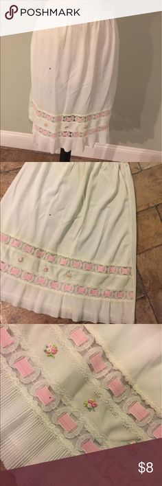 """Vintage Lacey Ruffle Slip Sz S No tag.Elastic waist .nice condition ( spot you see in the photos is not a stain,but a spot on my lens.Sz S waist Measures 24"""" -30"""" Vintage Intimates & Sleepwear Chemises & Slips"""