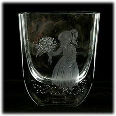 Seaglasbruk Crystal Vase Little Girl with Flowers Art Glass Engraved Scandinavian