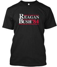 Reagan Bush 84 Black T-Shirt Front