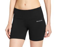 """Baleaf Women's High Waist Yoga Shorts Tummy Control Inner Pocket Black Size L. Non see-through, moisture-wicking, breathable and stretchy fabric provides complete coverage. High-rise, wide waistband for no muffin top and maximum coverage while bending and stretching. Hidden big waistband pocket are available for 4"""",4.7"""",5"""",5.5"""" Mobile Phone. Longer inseam to provide ample coverage as you move from pose to pose and prevent thighs from rubbing. Gusseted crotch for greater freedom of…"""