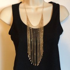 NWT Steve Madden Delicate Statement Necklace This is a very unique piece. Fringe collar on very delicate chains make this a statement piece. Approximate measurement 21 inches with an adjustable 3 inch extender. Gold tone. No trades. Generous discount with bundle. Steve Madden Jewelry Necklaces
