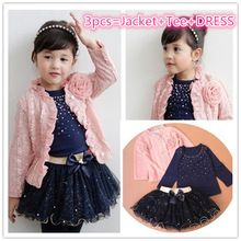 New 2015 spring baby girls clothing sets 3 pieces suit girls flower coat +girl T shirt +tutu skirt girls clothes christmas gift(China (Mainland))