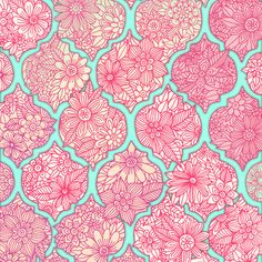 Moroccan Floral Lattice Arrangement in Pinks Art Print by Micklyn | Society6