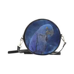 Hyacinth Macaw Round Messenger Bag. FREE Shipping. #artsadd #bags #parrots