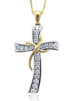 10k yellow gold diamond cross pendant necklace 110 cttw i j color 025 carat cross diamond pendant necklace in 10k white and yellow gold gh i1 mozeypictures Image collections
