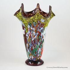 GlassOfVenice.com - Murano Millefiori Art Glass Fazzoletto Vase - Amethyst