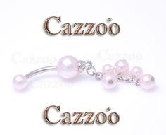 NP960 Navle piercing med vedh�ng navlepiercing med perlemor sk�r flot til din navle fra cazzoo piercing