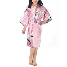 Waymoda Girls Luxury Silky Satin Evening Dressing Gown, Kids Peacock and Blossoms Pattern Kimono Robe, 10+ Color, 3-14 Year Old Sizes Optional - Pink  Product Details:   • Gorgeous Vivid Kimono Dressing Gown with Beautiful Oriental Peacock and Blossoms Sublimation Print Pattern;  • The Luxury and Eco-friendly Silky Robe Fabric Feels Very Soft, Smoothness and Breathable on the Skin, Putting It on Make Your Kids Feel Relaxed, Comfy and Look like a Lovely Princess;  • Per