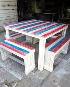 Colorful Pallet Dining Furniture Set - Pallet Dining Table with Benches - 20 Pallet Ideas You Can DIY for Your Home | 99 Pallets