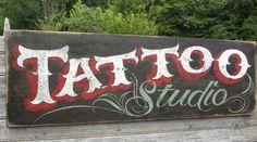 New vintage tattoo studio awesome Ideas Tattoo Studio, Tattoo Shop Decor, Pinstripe Art, Barber Shop Decor, Tattoo Signs, Sign Writing, Home Tattoo, Garage Art, How To Make Paint
