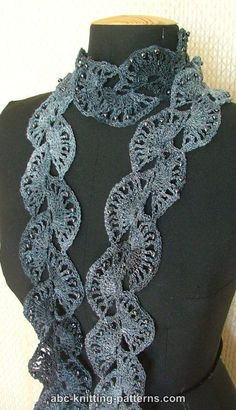 ABC Knitting Patterns - Elegant Ribbon Lace Scarf with Beads