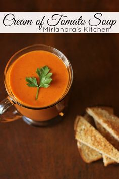 Classic, creamy tomato soup.  This simple recipe makes a delicious drinking soup just like mom used to.  Gluten free and ready in less than 30 minutes.  This is the perfect way to use up extra garden tomatoes.
