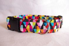 "Bright Geometric Shapes -  Adjustable Fabric Dog Collar 1.5"" by TheEmPURRium on Etsy"