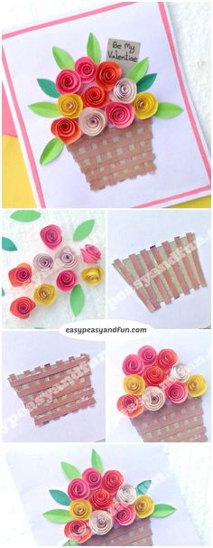 DIY Rolled Paper Roses Valentines Day or Mothers Day Card 2019 Flower Basket Paper Craft for Kids. Super simple Spring craft project for kids to make. The post DIY Rolled Paper Roses Valentines Day or Mothers Day Card 2019 appeared first on Paper ideas. Spring Crafts For Kids, Craft Projects For Kids, Paper Crafts For Kids, Summer Crafts, Paper Crafting, Diy For Kids, Diy Paper, Craft Ideas, Art Projects