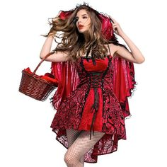 Halloween women costumes Gothic wind little red riding hood Cosplay Costume Party Adult Capes Outfits Gothic Lace fancy Dress Little Red Riding Hood Halloween Costume, Red Riding Hood Costume, Cosplay Outfits, Cosplay Costumes, Dress Outfits, Fancy Gowns, Fancy Dress, Holiday Costumes, Halloween Costumes