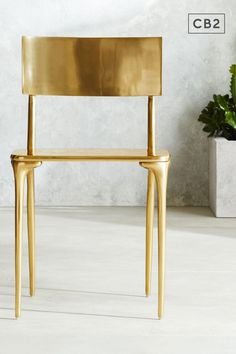 Gold finish bathes polished aluminum dining chair in warm luxury. Elegant seat shines at any outdoor dining table. Decor, Gold Dining Chairs, Dining Chairs, Outdoor Dining Table, Chair, Gold Dining, Dining Furniture, Furniture, Highend Furniture