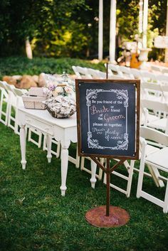 """wedding ceremony seating sign. . .I will replace that with an """"UNPLUGGED"""" sign"""