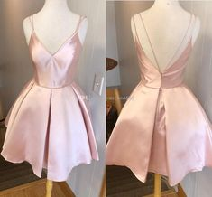 Lovely Pink Homecoming Dresses V Neck Spaghetti Straps Satin Ruffles Backless Prom Dresses Sexy Party Dresses Debs Dresses Lace Dresses From Ya · PeachGirlDress · Online Store Powered by Storenvy Deb Dresses, Grad Dresses, Dance Dresses, Pretty Dresses, Beautiful Dresses, Evening Dresses, Formal Dresses, Maxi Dresses, Pink Dresses