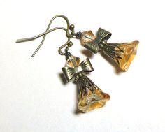 Earrings Golden Bell Flower Czech Glass by SpiritCatDesigns, $4.95