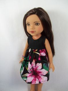 """Hearts for Hearts Doll Clothes - Hawaiian Black and Floral Dress for 14"""" Dolls by OurDollFashions on Etsy https://www.etsy.com/listing/226327004/hearts-for-hearts-doll-clothes-hawaiian"""