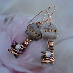 Copper Key Stamped Wire Wrapped Earrings by PraytorProject on Etsy, $15.00