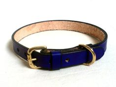 "Leather dog collar, L, 3/4"", size 14 to 17in, brass buckle and D ring, available in 15 different colors"