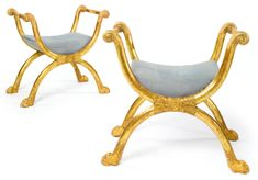 An important pair of Directoire giltwood tabourets, attributed to Jacob Frères circa 1798 - Sothebys