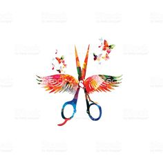 Hairdressing background with colorful scissors with wings vector art illustration Hairdresser Tattoos, Hairstylist Tattoos, Scissors Tattoo, Barber Tattoo, Animal Body Parts, Salon Signs, Salon Art, Hair And Beauty Salon, Hair Shop
