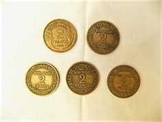 1923, 1924, 1925 x 2, & 1936 2 Franc French Coins in Copper and Aluminium. 8 grams each. Collectors, Hobbies, Crafts, Jewellery. N2 by FabFrench on Etsy