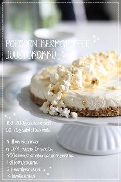 Popcorn-kermatoffee juustokakku & Geisha-valkosuklaa juustokakku