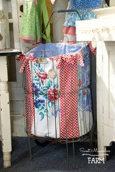 Sweet Magnolias Farm Originals Market / Laundry Cart w/ OOAK insert made with vintage Linens.