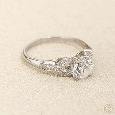 A stunning old European cut diamond engagement ring in a handmade platinum mounting.