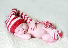 Red and Ivory Elf Stocking Hat with Long Tail by adorableorganics, $32.00