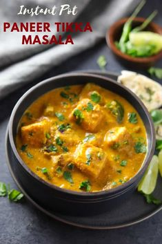 Instant Pot Paneer Tikka Masala is a flavorful and aromatic curry, made with marinated and grilled paneer cubes simmered in a rich onion tomato gravy along with warm spices. | #paneer #tikka #instantpot #pressurecooker #vegetarian #glutenfree #pipingpotcurry | pipingpotcurry.com