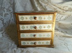 Florentine Italian Jewelry Chest Box  Vintage
