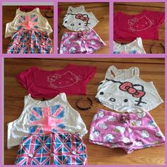 Hello kitty bundle Gentle used  Hello kitty bundle in teen sizes L- XL . Items come from smoke free home . I would prefer to sell as group and not break apartment clouded: 1 HK head band -1 XL  sleep shorts -1 NWOT HK Britain skirt and crop top L- 2 HK L tops one with bling . All items come from smoke free home - Hello Kitty Tops Tees - Short Sleeve