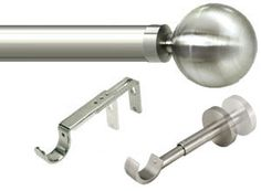 Italia Genoa Satin Silver Curtain Pole Total Price: Pole lengths up to with only 2 end brackets and 1 central bracket! Bracket, Curtain Poles, Curtains, Light, Heavy Weight Curtains, Silver Curtains