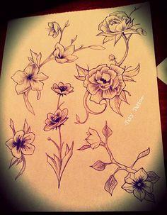 Flowe fiori tattoo tatuaggio flash sketch ornamental rose roses peach flower fiore di pesco fiore di ciliegio - made by -TatyTattoo-