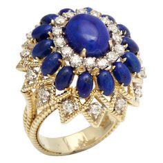 Vintage Lapis & Diamond Ring