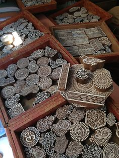 """Did you ever think about how """"hand blocked"""" fabrics from India are actually made? These wood blocks are used to hand stamp the elaborate patterns so intricately applied to the fabrics. It's an amazing process and fascinating to watch. Very time consuming!"""