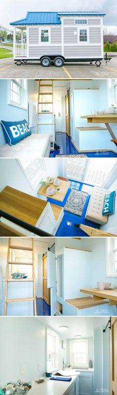 Inside this 17' tiny house you'll find an exposed rafter ceiling, a blue epoxy floor, a rolling library ladder, and a folding dining table.