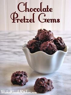 Chocolate Pretzel Gems {with Gluten Free Option} by WickedGoodKitchen.com Easy salty-sweet irresistible homemade chocolate pretzel candies made with pretzels and crisp rice cereal for extra crunch!