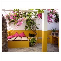Courtyard with seating area and Bouganvillea climbing on pergola - Image No: 0038190 - Photo by Christina Wilson Pergola Images, Pergola Pictures, Vacation Homes For Rent, Vacation Home Rentals, Boutique Hotels, Deck With Pergola, Pergola Plans, Porches, Affordable Vacations