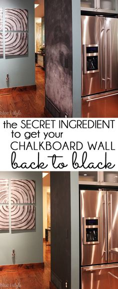 {five minute friday} How to Get Your Chalkboard Wall Back to Black! HOW TO CLEAN A CHALKBOARD WALL! The secret ingredient to get your chalkboard wall back to black, and tips for doing it right!