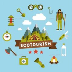 Landscape Depicting a Campsite (Vector EPS, CS, active, activity, adventure, bear, boat, camp, campsite, conservation, ecology, ecosystem, fire, forest, green, habitat, healthy, holiday, illustration, lake, lifestyle, mountain, mushrooms, national, outdoors, park, recreation, scenery, tent, vector, waves, wilderness)