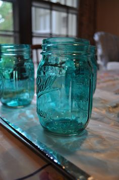 How to tint mason jars using Mod Podge and food coloring (Being a cheap school student I simply used elmers glue and food coloring which looks about the same but is a bit more hazy )